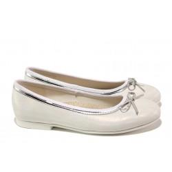 Анатомични детски обувки със стелка от естествена кожа АБ 14-19 бял-сребро 31/35 | Детски обувки | MES.BG