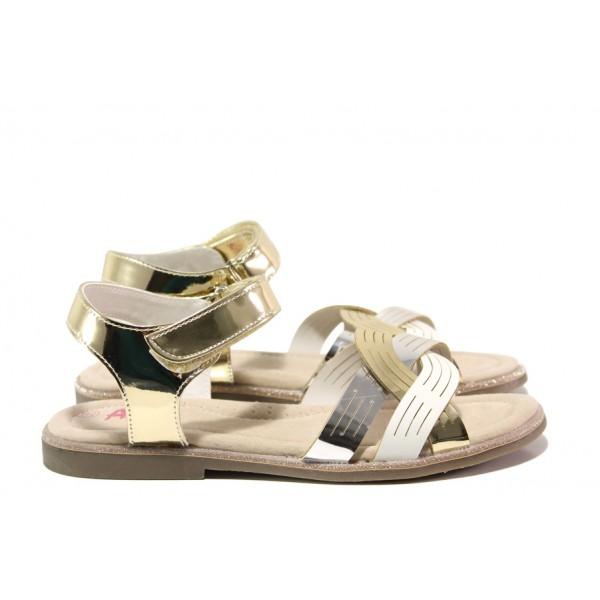 Анатомични детски сандали със стелка от естествена кожа АБ 23-19 сребро-злато 31/35 | Детски сандали | MES.BG