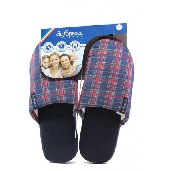 Анатомични мъжки чехли Defonseca ROMA TOP M506 син-червен | Домашни чехли | MES.BG