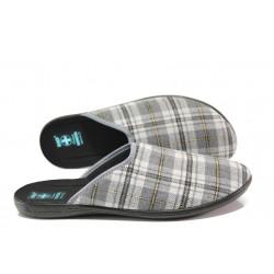 Анатомични домашни чехли с Bio ходила МА 24270 сив каре | Домашни чехли | MES.BG