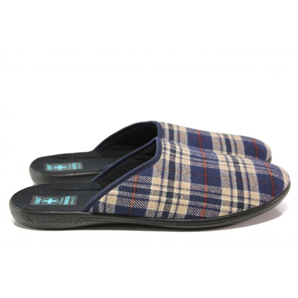 Анатомични домашни чехли с Bio ходила МА 24271 син каре | Домашни чехли | MES.BG