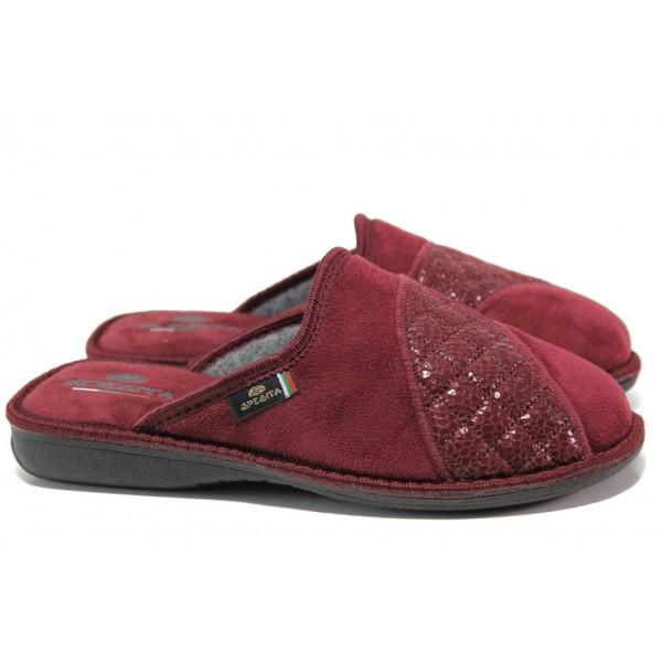 Анатомични български домашни чехли Spesita 633 бордо | Дамски домашни чехли | MES.BG