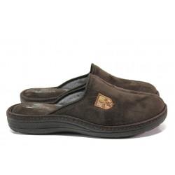 Анатомични български чехли Spesita 640 кафяв | Мъжки домашни чехли | MES.BG