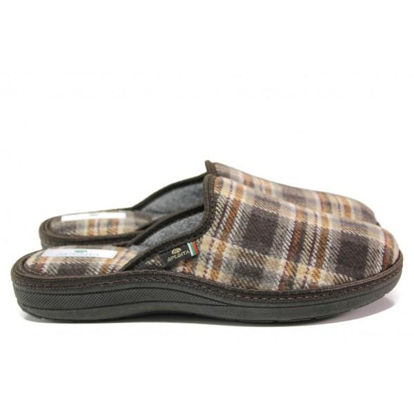 Анатомични български чехли Spesita 668 кафяв | Мъжки домашни чехли | MES.BG
