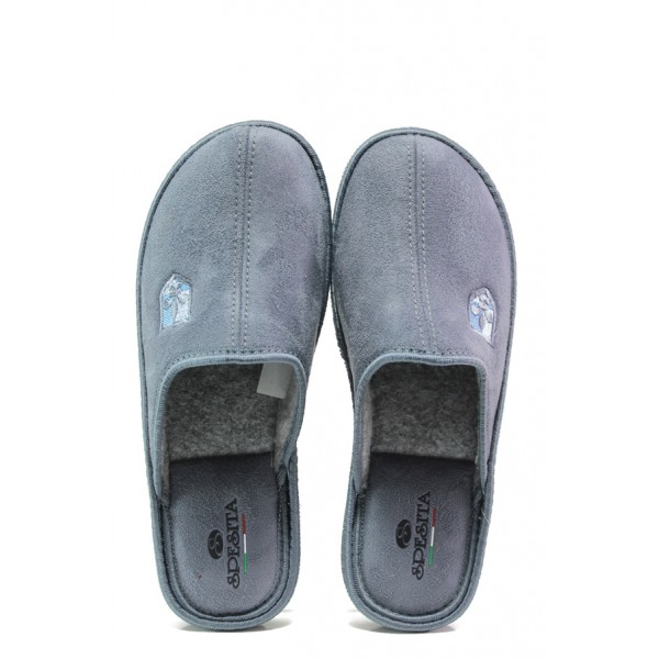 Анатомични български чехли Spesita 640 сив | Мъжки домашни чехли | MES.BG