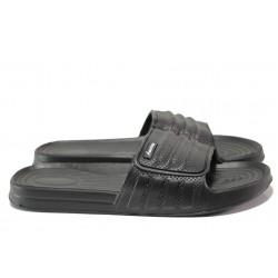 Мъжки джапанки с цяла лента АБ 02-19 черен | Мъжки гумени чехли | MES.BG