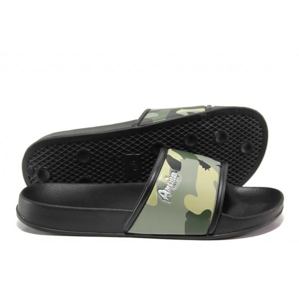 Дамски джапанки с цяла лента АБ 07-19 зелен камуфлаж | Дамски джапанки и чехли | MES.BG
