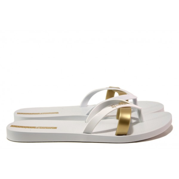 Равни дамски чехли Ipanema 81805 бял-злато | Бразилски чехли | MES.BG