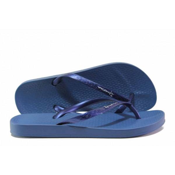 Анатомични чехли, равни, с лента между пръстите, изработени от висококачествен PVC материал / Ipanema 82591 т.син / MES.BG