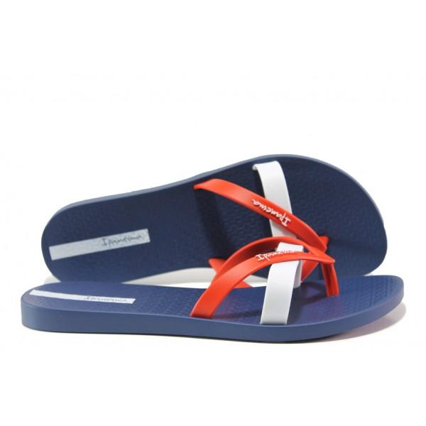 Равни дамски чехли Ipanema 81805 син-червен | Бразилски чехли | MES.BG