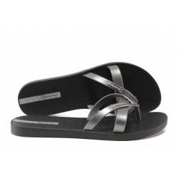Равни дамски чехли Ipanema 81805 черен-сребро | Бразилски чехли | MES.BG