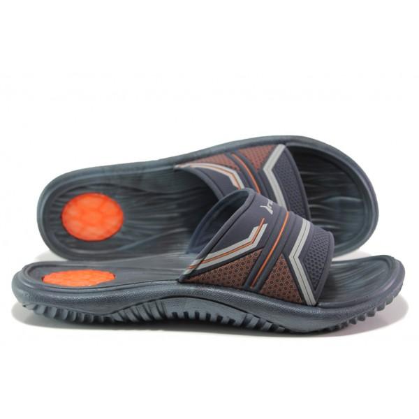 Анатомични мъжки чехли с цяла лента Rider 82497 син-оранжев | Бразилски чехли | MES.BG