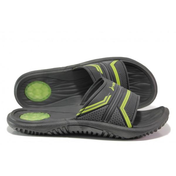 Анатомични мъжки чехли с цяла лента Rider 82497 черен-зелен | Бразилски чехли | MES.BG