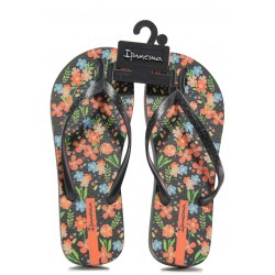 Равни дамски чехли Ipanema 82469 черен-оранжев | Бразилски чехли | MES.BG