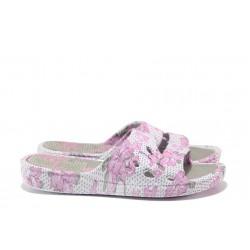 Дамски джапанки с цяла лента АБ 06-19 сив-розов | Дамски джапанки и чехли | MES.BG