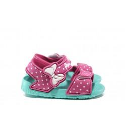 Детски сандали с лепенки АБ 17-19 розов-зелен 24/29| Детски гумени сандали | MES.BG