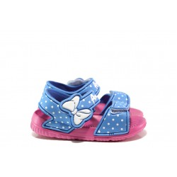 Детски сандали с лепенки АБ 17-19 син-розов 24/29| Детски гумени сандали | MES.BG