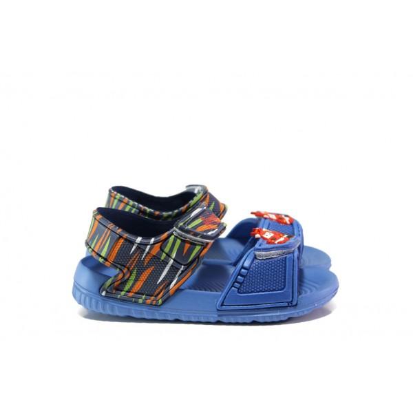 Детски сандали с лепенки АБ 13-19 син кола 24/29| Детски гумени сандали | MES.BG