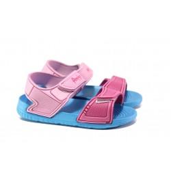 Детски сандали с лепенки АБ 15-19 син- розов 30/35 | Детски гумени сандали | MES.BG