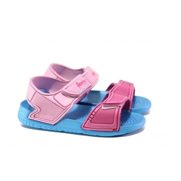 Детски сандали с лепенки АБ 15-19 син- розов 30/35   Детски гумени сандали   MES.BG