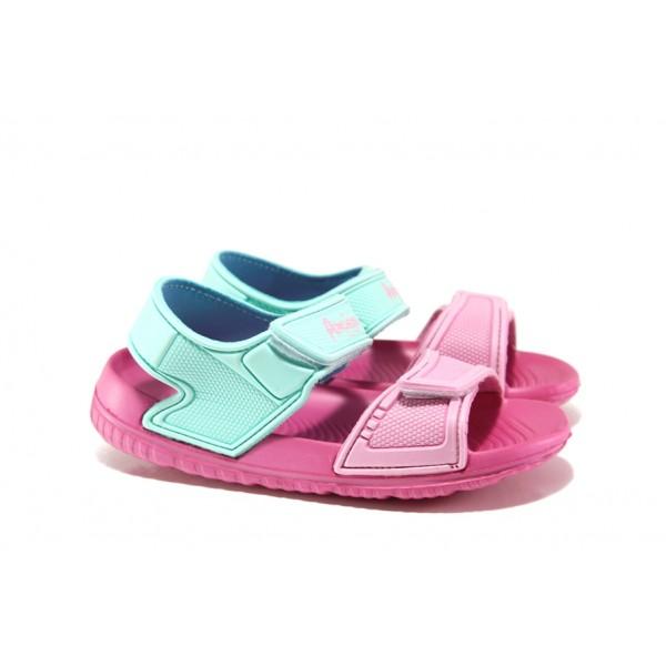 Детски сандали с лепенки АБ 15-19 зелен- розов 30/35 | Детски гумени сандали | MES.BG