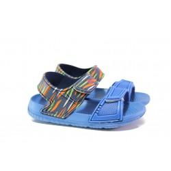 Детски сандали с лепенки АБ 12-19 св.син 30/35 | Детски гумени сандали | MES.BG
