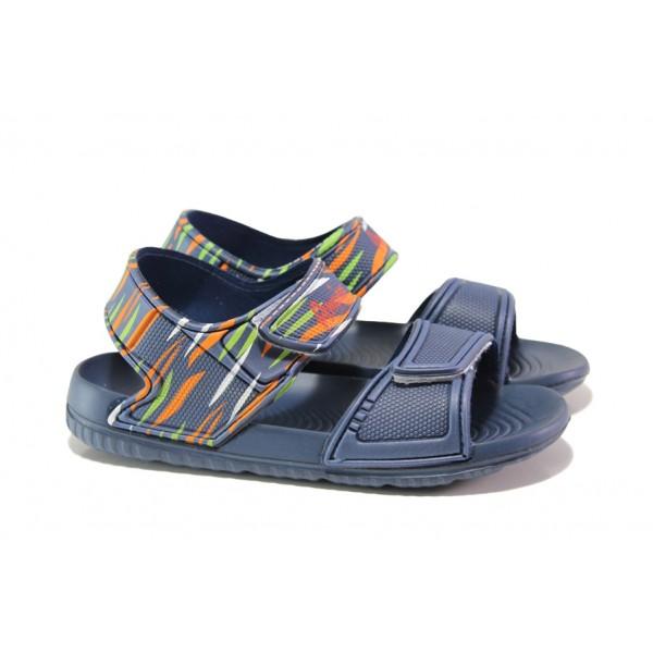 Детски сандали с лепенки АБ 12-19 т.син 30/35 | Детски гумени сандали | MES.BG
