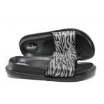 Дамски джапанки с цяла лента АБ 08-19 черен-сребро | Дамски джапанки и чехли | MES.BG