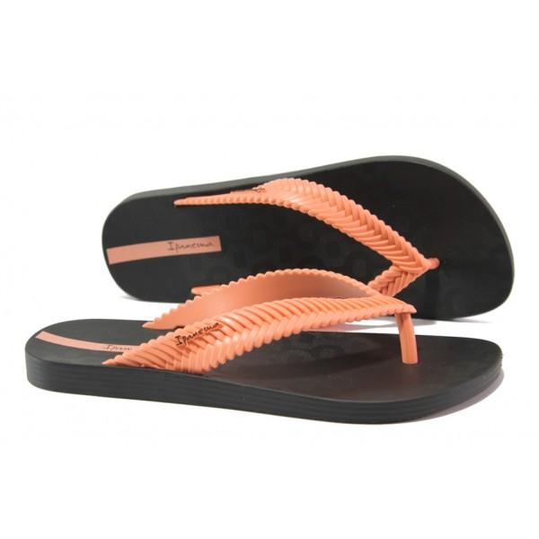 Равни дамски чехли Ipanema 26267 черен-розов | Бразилски чехли и сандали | MES.BG