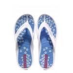 Дамски джапанки с лента между пръстите Runners 181-14485 бял-син | Дамски джапанки и чехли | MES.BG
