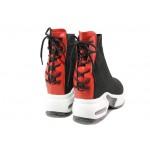 Летни дамски сникърси със скрита платформа ФР 208 черен-червен | Дамски маратонки | MES.BG