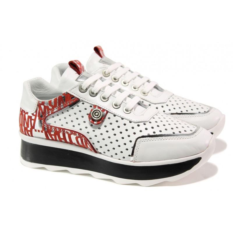 8840e11bcc4 Дамски спортни обувки от естествена кожа с перфорация МИ 64-1 бял | Дамски  маратонки | MES.BG
