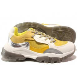 Иновативни юношески маратонки на комфортно ходило БИ 021 жълт | Дамски маратонки | MES.BG