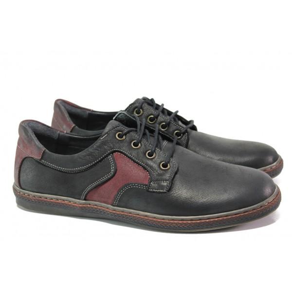 Анатомични мъжки обувки от естествена кожа МИ 051-1045 черен-червен | Мъжки ежедневни обувки | MES.BG