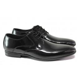 Анатомични елегантни обувки от естествена кожа-лак ЛД 135 черен лак | Мъжки официални обувки | MES.BG