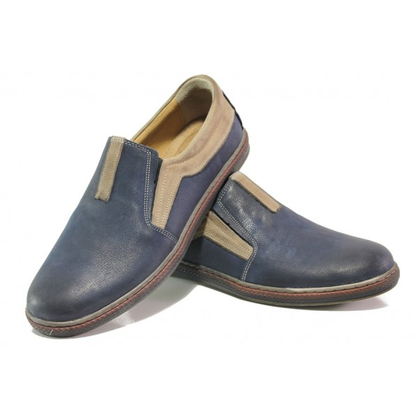 Анатомични мъжки обувки от естествена кожа МИ 044-1045 син | Мъжки ежедневни обувки | MES.BG