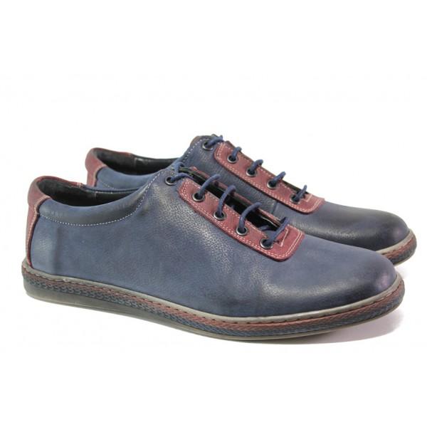 Анатомични мъжки обувки от естествена кожа МИ 041-1045 син   Мъжки ежедневни обувки   MES.BG