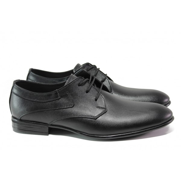 Анатомични обувки от естествена кожа ЛД 139 черен | Мъжки официални обувки | MES.BG