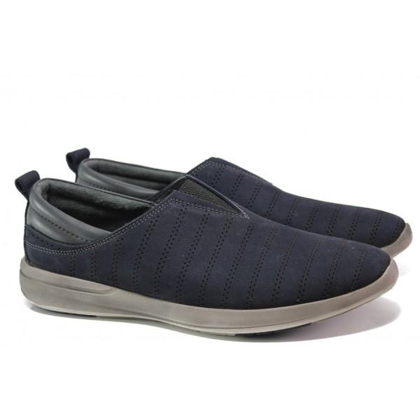 Мъжки обувки от естествен набук с перфорация МИ 07-3 т.син | Мъжки ежедневни обувки | MES.BG