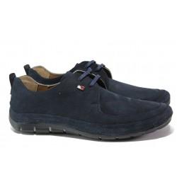 Анатомични мъжки обувки от естествен набук КВ 82 т.син | Мъжки ежедневни обувки | MES.BG