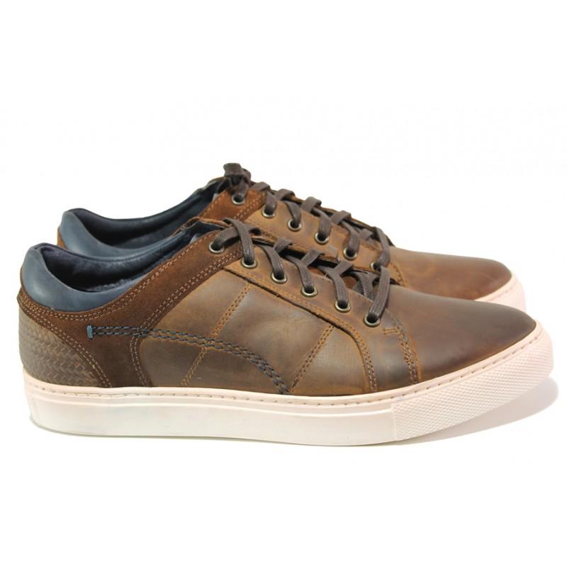 61bef911ce5 Български мъжки обувки от естествена кожа ЕМИ 004 кафяв | Мъжки ежедневни  обувки | MES.BG