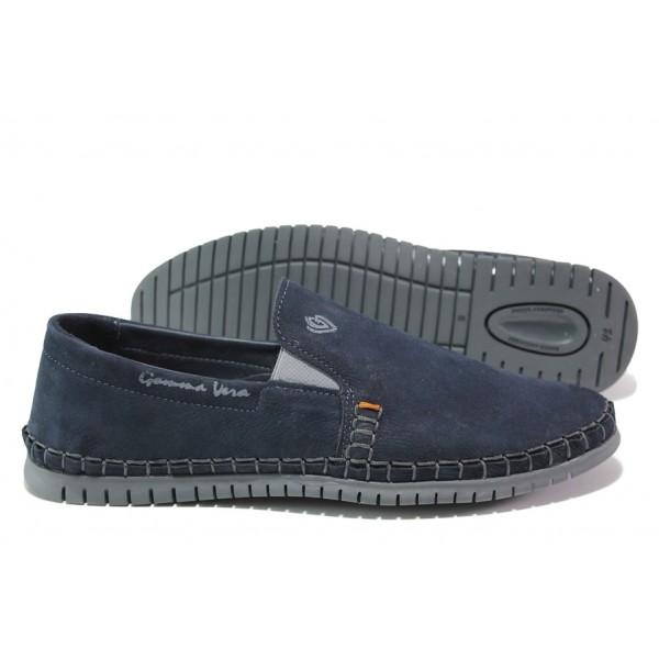 Анатомични български обувки от естествен набук МЙ 83319 син | Мъжки ежедневни обувки | MES.BG