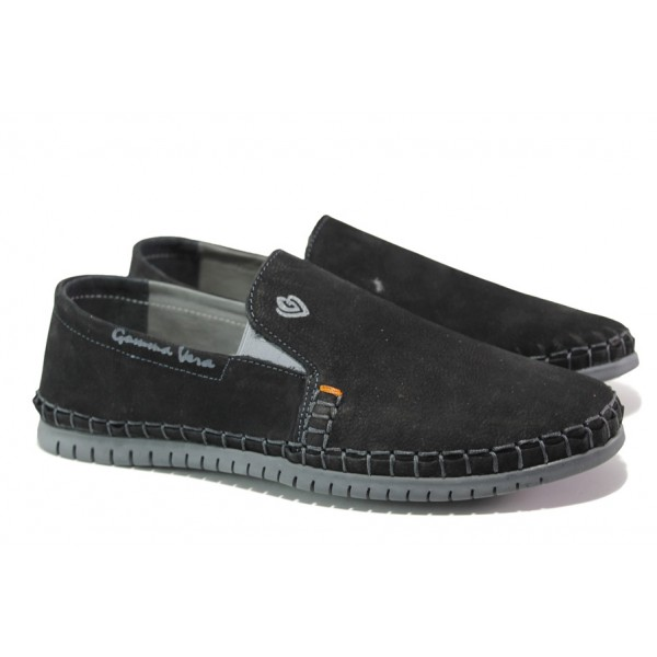 Анатомични български обувки от естествен набук МЙ 83319 черен | Мъжки ежедневни обувки | MES.BG