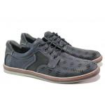 Анатомични мъжки обувки от естествена кожа МИ 051-1045 син | Мъжки ежедневни обувки | MES.BG