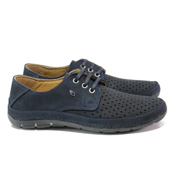 Анатомични мъжки обувки от естествена кожа МИ 80 син   Мъжки ежедневни обувки   MES.BG