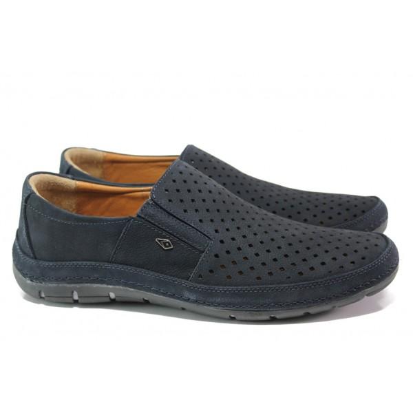 Анатомични мъжки обувки от естествена кожа МИ 87 син | Мъжки ежедневни обувки | MES.BG