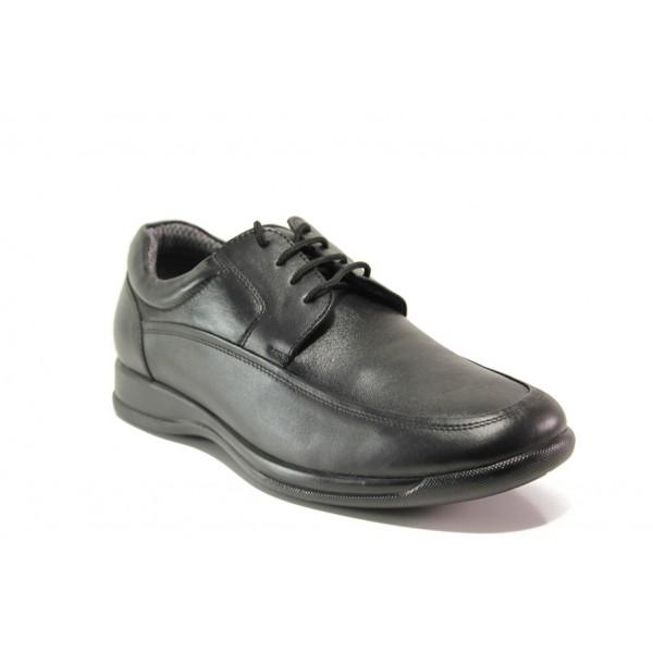 Мъжки ортопедични обувки от естествена кожа SOFTMODE 11-00 Bristol черен | Мъжки ежедневни обувки | MES.BG