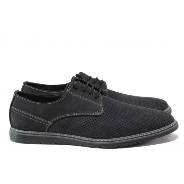 Анатомични обувки от естествен набук ЛД 377 черен | Мъжки ежедневни обувки | MES.BG