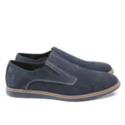 Анатомични мъжки обувки от естествен набук ЛД 383 син | Мъжки ежедневни обувки | MES.BG