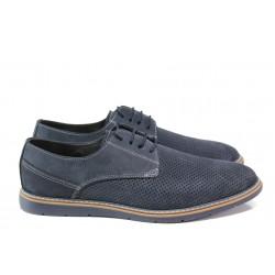 Анатомични мъжки обувки от естествен набук ЛД 377 син | Мъжки ежедневни обувки | MES.BG